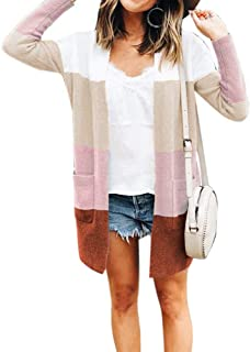 Womens Long Sleeve Casual Striped Cardigan Color Block...