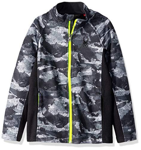 Spyder Boys' Constant Full Zip Stryke Jacket, Camo Distress Print/Black/Bryte Yellow, Medium