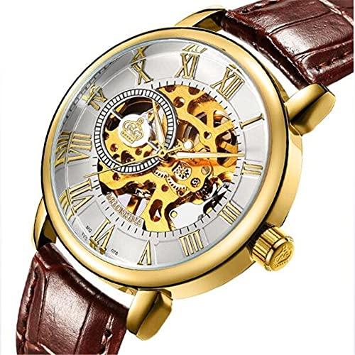 Correa de Cuero de Reloj de Hombre, Reloj de Alta Gama Impermeable Hueco automático Reloj mecánico,Oro
