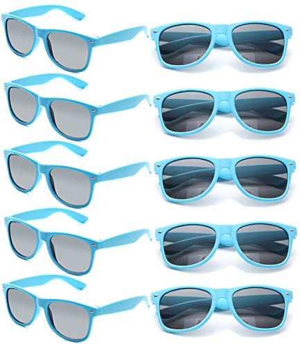 Neon Sunglasses Bulk for Adults Party Favors Retro Classic Party Glasses Shades 10 PACK(Blue)