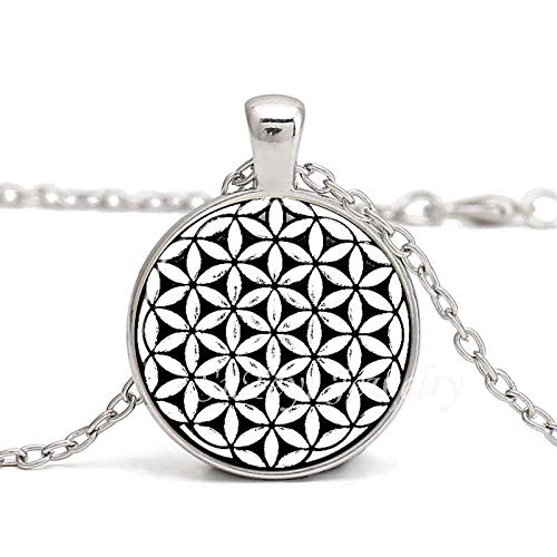 Mandala Sechseck Heilige Geometrie Schmuck Fleur De Vie Glas Cabochon Halskette Blume Des Lebens Samen Des Lebens Anhänger Halskette