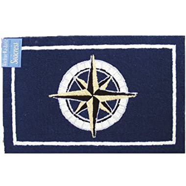 Outdoor Rug Kitchen Mat Hooked Rug Look Nautical Decor 2 ft. x 3 ft. Compass