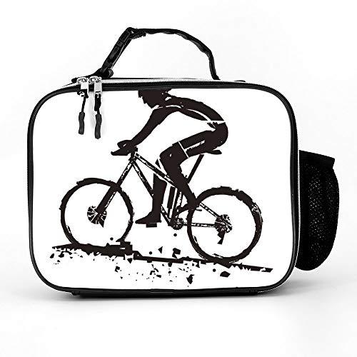 happygoluck1y Mountainbike Rider Lunch Tassen Geïsoleerde Rits met Zakken Draagbare Lunch Box voor Vrouwen voor Werk voor Kinderen