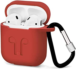 Apple Airpod Thick Silicone Shockproof Case Cover With Hanging Clip - Red