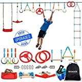 Jugader 65 ft Ninja Warrior Obstacle Course for Kids Ninja Slackline with 13 Accessories Includes Twister, Ladder, Swing, Wheel, Rings, Bars