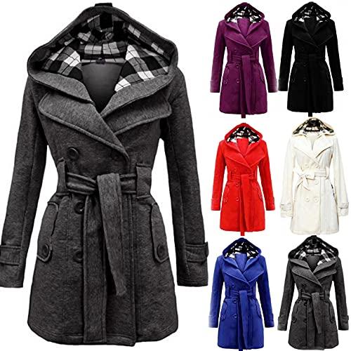 Generic Damen Winter Warmer Mantel Lange Kapuze Zweireihige Wollmantel Revers Wickel Outwear Mit Taschen Wintermantel Dicke Kapuzenjacke Lang Coat