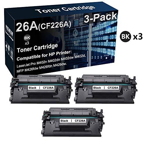 Cartucho de tóner compatible 26A CF226A para impresora láser HP LaserJet Pro M402dn M402dw MFP M426fdw (negro, de alto rendimiento)
