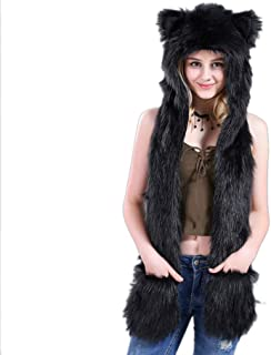 Belyee 3 in 1 Function Faux Fur Animal Hood Hat Scarf and Paw Glove Furry Hoodie