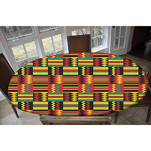Kente Pattern Elastic Polyester Fitted Table Cover, Pattern with Stripes Triangles and Zigzags Uganda Zimbabwe Nigeria Decorative Oblong/Oval Dinner Fitted Table Cloth,Fits Tables up to 48' W x 68' L
