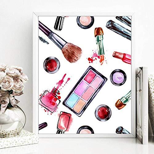 Maquillaje de moda Impresión cosmética Regalo para niñas Perfume Lápiz labial Póster Acuarela Moda Arte de la pared Pintura en lienzo Belleza Decoración de la habitación | 45x60cm - Sin marco
