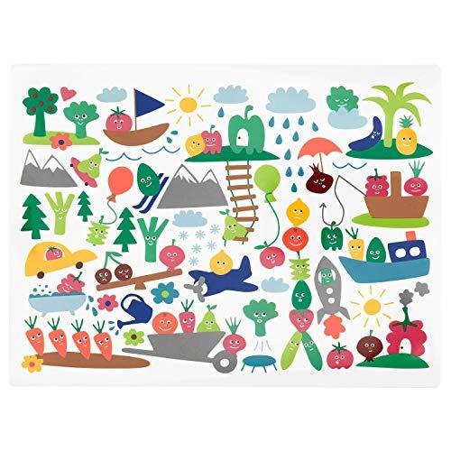 Place mat, fruit/vegetables pattern, multicolour40x30 cm. Set of 4