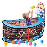 WASDY Pirate Ship Play Carpa para Niños Plegable Pop Up Playhouse Carpa Juego Toy Pool Indoor Outdoor Garden Playhouse Play Fence con Aro De Baloncesto para Niños (49,21 * 20,47 * 21,65In)