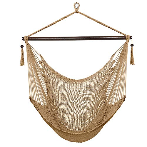 starwood Fashion Designed Caribbean Large Hammock Chair Swing Seat Hanging Chair with Tassels (Coffee)