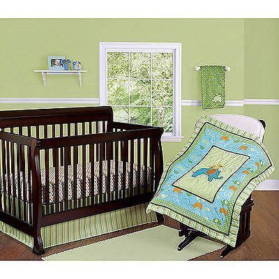 Step By Step 3 Piece Nursery Set (Comforter, Crib Sheet, Dust Ruffle) (Green) (Yellow) (Blue) Unisex by Pem America, Inc.
