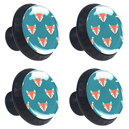 FURINKAZAN Tirador de armario de cocina para puerta de armario de cocina, cajones, tiradores de ropa, gancho moderno y simple, diseño de cabezas de zorro naranja turquesa