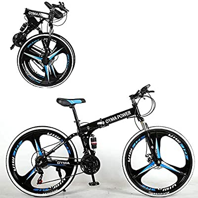 26-inch Folding Mountain Bike 21-Speed Junior Outdoor Bike with Dual Disc Brakes/Sturdy Carbon Steel Frame Commuter Bikes for Adults/Various Styles to Choose from (G)