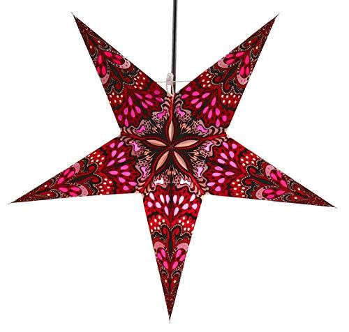 GURU SHOP Faltbarer Advents Leucht Papierstern, Weihnachtsstern 60 cm - Nestor Rot/lila, Star Fensterdeko