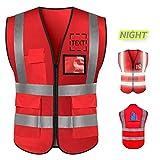 Big Size High Visibility Safety Vest Custom Logo Protective Workwear 5 Pockets...