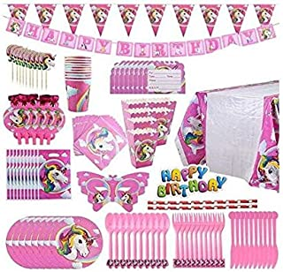 Colorful 126 Pcs Unicorn Party Supplies Serves 3-12 for Birthday baby Shower - Includes Table Cloth,Napkin,Cake Toppers,Di...