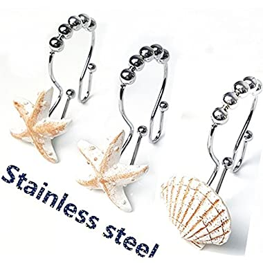 Love Creative Starfish shell Double Shower Curtain Hooks Rings Easy Glide Ocean Shower curtain Hooks 12 Count