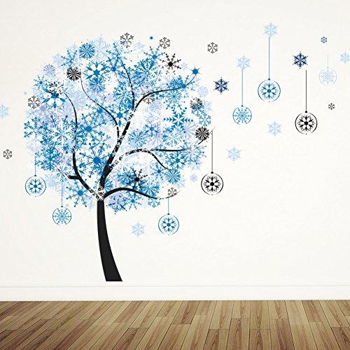Bomeautify Cervatillo de la muchacha del piano azul etiqueta engomada de la pared del árbol del copo de nieve decoración desprendible etiqueta engomada