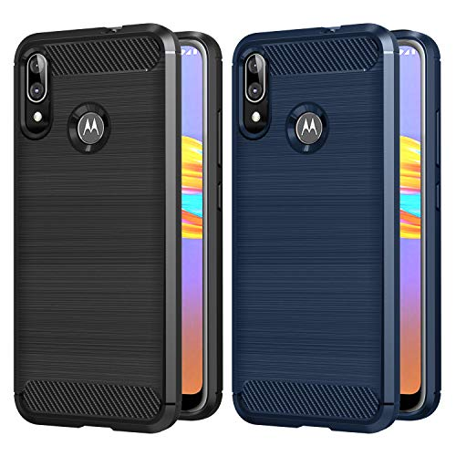 VGUARD 2 Stücke Hülle für Motorola Moto E6 Plus, Carbon Faser Hülle Tasche Schutzhülle mit Stoßdämpfung Soft Flex TPU Silikon Handyhülle für Motorola Moto E6 Plus - (Schwarz+Blau)