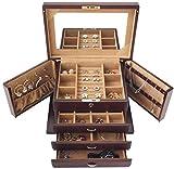 Caja de madera hecha a mano con llave oculta y ext Caja de joyería de 4 capas Joyas de madera Caja de cosmética con llave grande Joyería reflejada Soporte de almacenamiento con llave Hermoso rompecabe