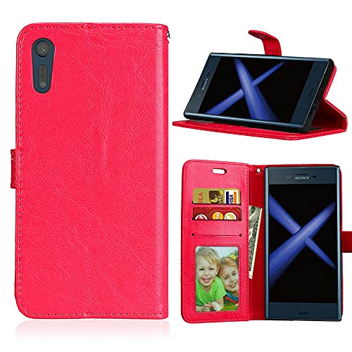 ShuiSu Funda con tapa para Sony Xperia XZ/XZs, piel sintética de alta calidad, cierre magnético de silicona suave, con función atril, bolsillos para tarjetas, color rojo