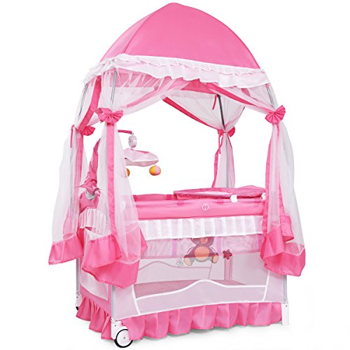 BABY JOY Portable Playard, 4 in 1 Convertible Baby Playpen with Changing Table, Mesh Net, Foldable Bassinet Bed with Music Box, Cute Whirling Toys, Wheels & Brake, Oxford Carry Bag, Pink (32 in)