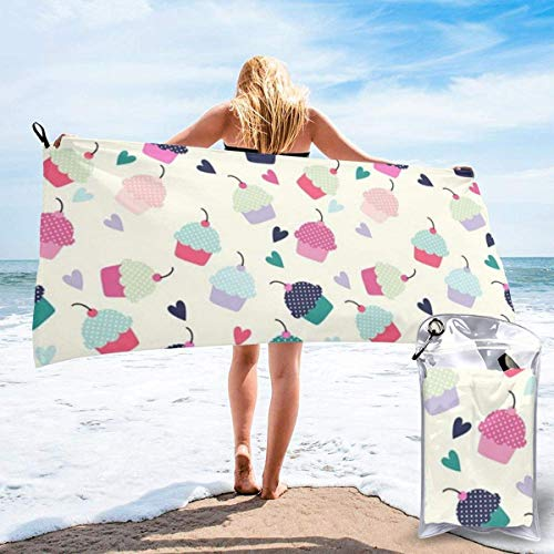 shenguang Cupcake Candy Hearts Sweet Printed Travel Quick Dry Bath Towels Sports Gym Microfiber Beach Towels Camping Swimming Compact Towel