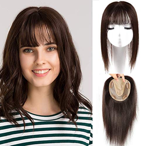 16' Human Hair Topper with Bangs Silk Base Lace Closure Hair Topper Dark Brown 12x14cm Clip in Hairpiece with Bangs Top Hair Pieces Free Part Crown Wigets for Women Covering Thinning Hair or Loss Hair