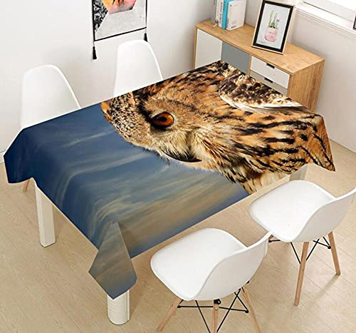Yqgdss Animal Lindo Búho Mantel 3D Diseño De Cocina Mesa De Comedor Mesa De Comedor Decoración De Cocina Comedor Familiar Actividades Interiores Al Aire Libre 140x200cm