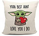 LIBIHUA Yoda Best Aunt Love You I Do – Throw Pillow Case Covers Decorative Gift - Birthday Christmas Mothers Day Anniversary Valentines Thanksgiving Gift for Sister Aunt Auntie Best Frined BFF Bestie