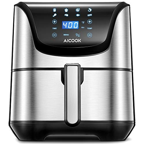 Air Fryer, AICOOK 1700W 5.8 Qt Electric Hot Oven Oilless Cooker LED Digital Touchscreen for Roasting/Baking/Grilling/Dehydrating, 8 Presets, Timer & Auto Shut Off, Dishwasher-Safe, Recipe Book