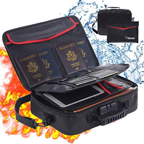 SEKAM Fireproof Document Bag (14.5 x 11 x 4 inch) with Fireproof Money Bag for Cash, Fireproof Document Safe Organizer for Travel, Fireproof File Storage Bag with Lock & Portable File Organizer Black