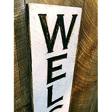 Large Vertical Welcome Sign 48 t x 10 w- Carved in a Cypress Board Rustic Distressed Kitchen Farmhouse Style Restaurant Cafe Wooden Wood Wall Art Decoration