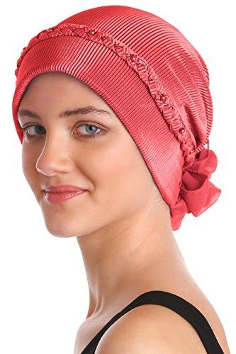 Intrecciato e Perla Dettaglio Turbante per le Donne (Coral Red)