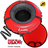 Bradley Deluxe Towable Snow Tube Sled and Heavy Duty Cover (50' Red) | Made in USA