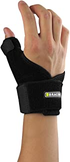 Bracoo Thumb & Wrist Brace, Spica, CMC Splint for Arthritis, De Quervain's, Carpal Tunnel Pain Relief, Reversible, Black, TP30, 1 Count