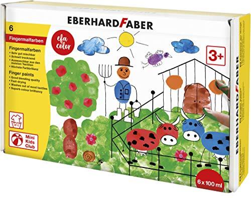 Eberhard Faber 578806 - EFAColor Fingerfarbe 6 x 100 ml in kleinen Dosen