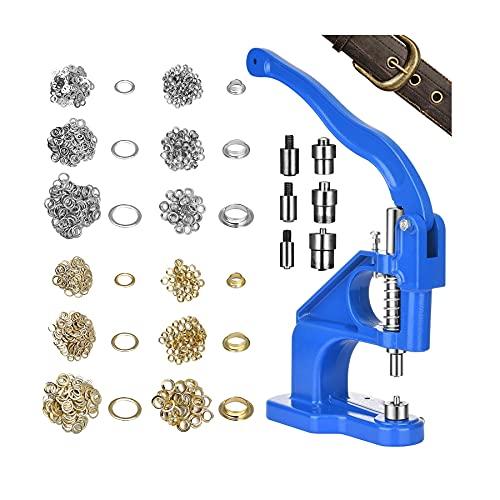 Handpresse ösen,TOPQSC ösenzange Set Mit 3 Stempelsätzen und 3000 Gold- und Silber Ösen,für Banner, Schilder, Markisen, Poster, Vorhänge