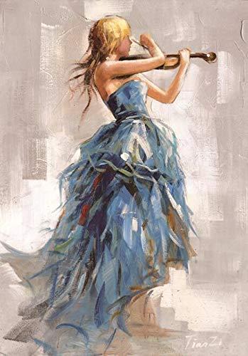 Moderne Wandkunst Leinwand Malerei Mädchen spielt Geige Poster und druckt Ballerina Mädchen Leinwand Kunstdrucke im Wohnzimmer nach Hause rahmenlose dekorative Malerei Z19 30x40cm