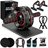 13-in-1 Ab Roller Wheel Kit with Knee Pad, Resistance Bands, Push-Up Bar, Jump Rope, Core Strength & Abdominal Home Gym Abs Workout Equipment for Men/Women