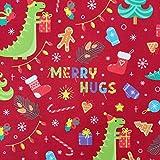 FS787 Dinosaurier-Weihnachtsstoff, Rot | Scuba-Polyester,