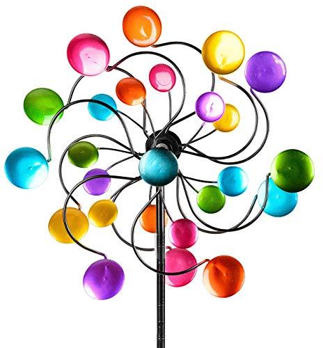 dekojohnson Windrad für den Garten aus Metall Kreise Windräder Windspiel Windmühle doppelt lila/blau/rot/grün - 126cm Groß