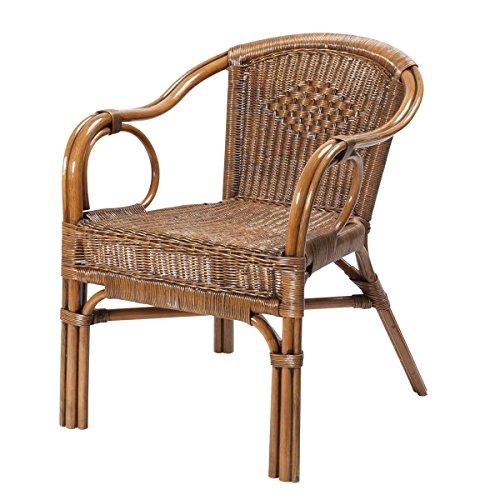 Rotin Design REBAJAS : -43% Sillon de ratan para comedor o salon Palma marron, moderno y barato