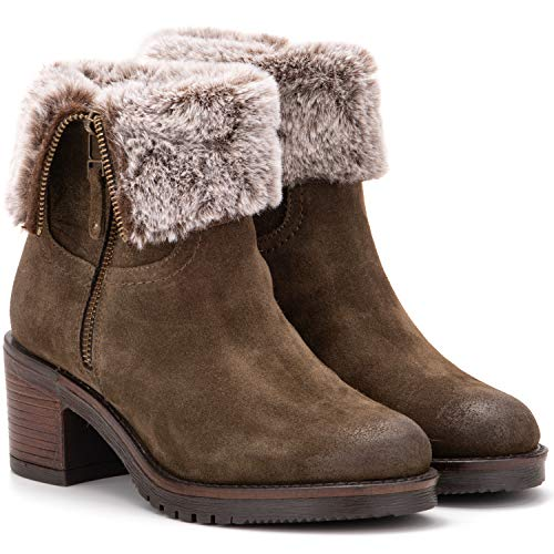 Vintage Foundry Co. Jeanette Women's Fashion Classy Elegant Biker Rugged Fur-Lined Olive-Green Soft Leather Side Zip-up Ankle-Boots, Round-Toe, Chunky Heels Platform, Rubber Lug Sole; Size 10