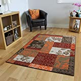 Milan Brown, Red, Orange, Beige & Cream Patchwork Rug 1568-S22-10 Sizes