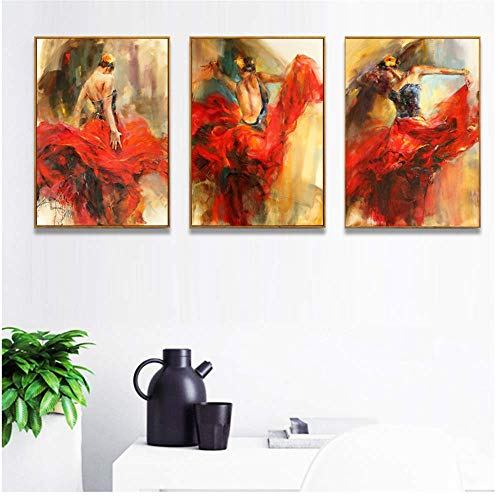 YaShengZhuangShi Foto auf leinwand 3x60x80cm kein Rahmen Abbildung Kunst Spanisch Flamenco Tanzen Tänzer Poster Gemälde für Wohnzimmer Home Decor