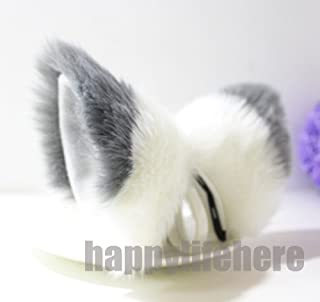 Cat Fox Ears Kitty Costume Halloween Cosplay Fancy Dress gray with white Kits